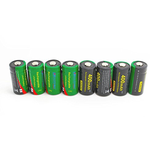 SUPEREX? CR2 3V Lithium ion rechargeable Battery high performance 400mAh LiFePo4 digital camera photo camcorder Batteries With PCB Protected In The Transparent PP Case - Pack of 8 (Plz pay attention to the size: 29.5X15.1mm, it's industrial use battery and only be used in specific professional equipments)