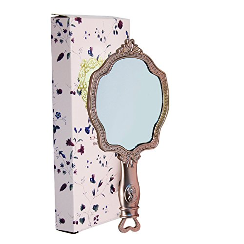 Girls Embossed Vintage Make-Up Hand Table Mirror Hand Held Makeup Mirror Princess Style Ideal Gift