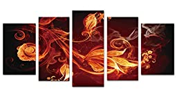 Wieco Art - Modern 5 Panels Stretched and Framed Abstract Giclee Canvas Prints Artwork Contemporary Red Pictures Paintings on Canvas Wall Art for Living Room Bedroom Home Office Decorations
