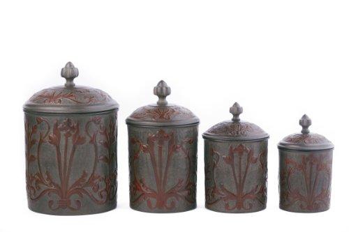 Old Dutch 4-Piece Art Nouveau Canister Set With Fresh Seal Covers, 4-Quart front-233354