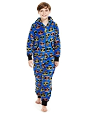 Hooded All-Over Skull Print Soft & Cosy Fleece Onesie