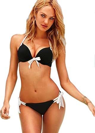 Demarkt Fashion Maillot de Bain pour les Femmes/ Swimwear Bustier Push Up Deux Pieces Bikini/ Couleur Noir/ Taille S