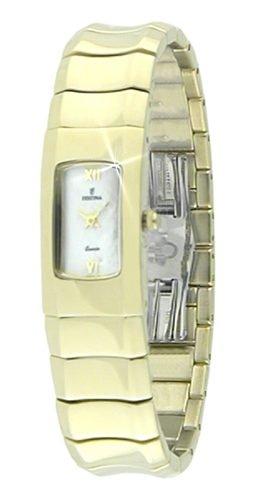 Festina F16042/1 - Reloj de mujer de cuarzo, en acero chapado en oro.