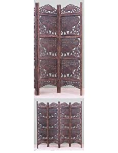 """Hardwood Carved Room Divider or Privacy Screen with Elephant Motif - 72"""" Tall and 80"""" Wide"""