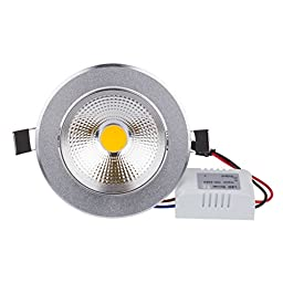 Lemonbest® Super Bright 7 Watts COB LED Ceiling Light Downlight Warm/Cool White Spotlight Lamp Recessed Lighting Fixture , Halogen Bulb Replacement (Warm white, Dimmable)