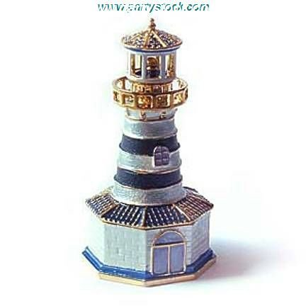 Lighthouse Box Swarovski Crystals 24K Gold Beacon Jewelry, Trinket, Pill Box FREE SHIP! Certificate of Authenticity