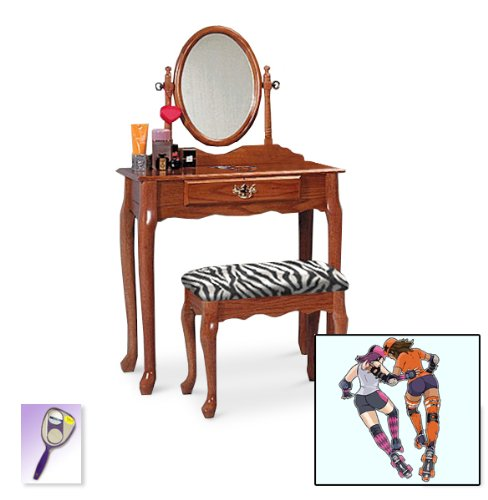 New Roller Derby Girls Themed Oak Finish Make Up Vanity Set With Adjustable Mirror And Bench With Your Choice Of Seat Cushion Theme! Also Includes Free Hand And Purse Mirror! front-1055582