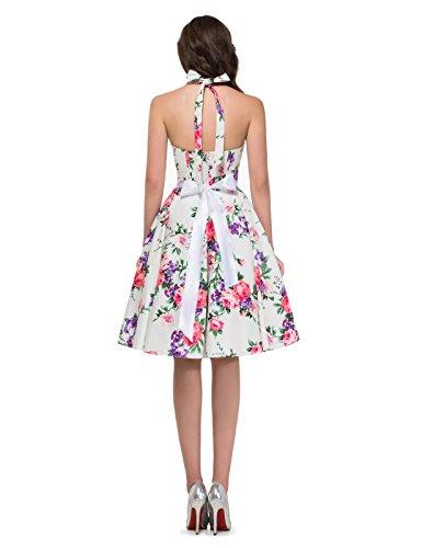 GRACE KARIN Women Vintage 1950s Polka Dots Rockabilly Dress with Sash 4