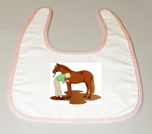 Baby Bib with grooming, brush, horse, woman, equine, animal, farm, rykta, verb, trainer image