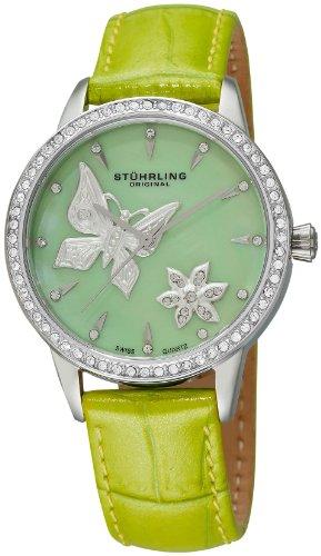 Stuhrling Original Women's 518.1115L88 Vogue Audrey Verona Mariposa Quartz Swarovski Crystal Mother-Of-Pearl Green Watch