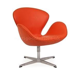 Arne Jacobsen Swan Lounge Arm Chair Orange Leather Kitchen Am