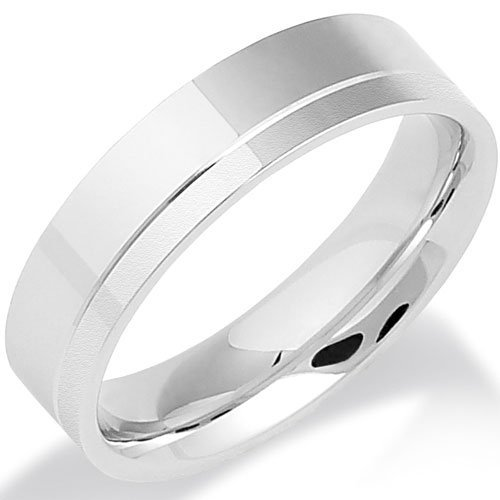 Grooved and Satin Finished Platinum Wedding Ring in a 5mm Flat Court Profile - Size S