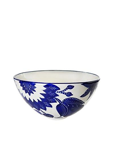 Le Souk Ceramique Jinane Deep Salad Bowl, Blue/White