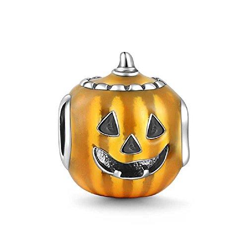 Soufeel Pumpkin Lantern Christmas Charm 925 Sterling Silver Fit European Bracelets