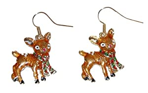 Enamel Plated Deer with a Scarf Drop Hook Earrings (Supplied in a Gift Pouch) Unique Jewellery