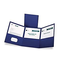 Oxford Tri-Fold Pocket Folders - Letter - 8.50quot; Width x 11quot; Length Sheet Size - 150 Sheet Capacity - 3 Pockets - Paper - Blue - 20 / Box
