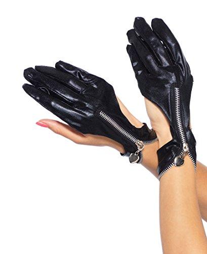 Leg Avenue 3738 Women's Wet Look Zipper Cut Out Motorcycle Gloves - Black - One Size