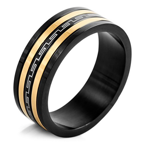 Men'S Stainless Steel Ring Band Gold Black Silver Greek Striped Vintage Size10