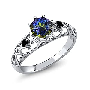 1.11 Ct Round Blue Mystic Topaz Black Diamond 925 Sterling Silver Ring