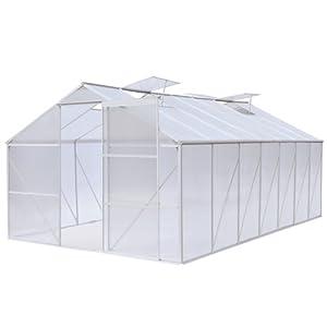 Gewächshaus Treibhaus Pflanzenhaus mit Schiebetür und 4 praktischen Belüftungsfenstern, ca. 11,6m², 430x270x190cm