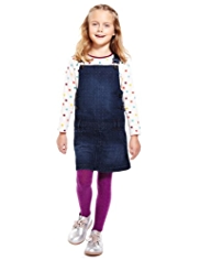 Pure Cotton Spotted Denim Pinafore