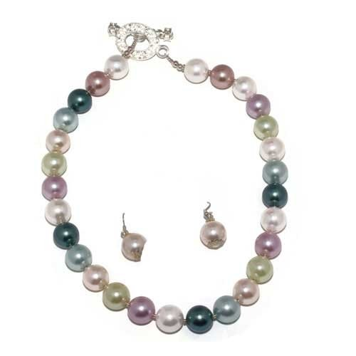 Elegant Majorca Pearl Necklace Multi Colored 16.5'' Long