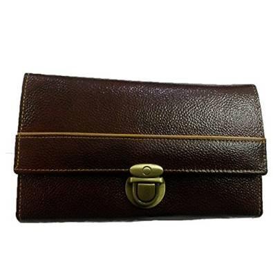 Genuine Original Leather Girls Clutch Purse Money Hand Bag for Women Ladies with card slots- Dark Brown