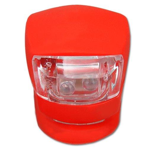 Mini LED Silikonleuchten Rot Silikon Wasserdicht Fahrradlicht Fahrradlampe Fahrrad Licht mit 2 rot LEDs (1 Licht)