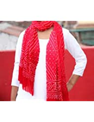 Famacart Women's Cotton Bandhej Red Dupatta Party Wear Wrap