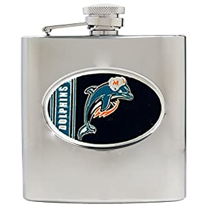 NFL Miami Dolphins 6oz Stainless Steel Hip Flask by Great American Products