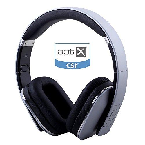 August EP650S Cuffie stereo senza fili Bluetooth 4.0 NFC- Over Ear con Microfono incorporato e batteria Ricaricabile - Compatibile con iPhones, Samsung, Galaxy,Nokia, HTC, Blackberry, Google, LG, Nexus, iPad, Tablet, Telefonini, Smartphones, PC's, Laptops etc (Argento)