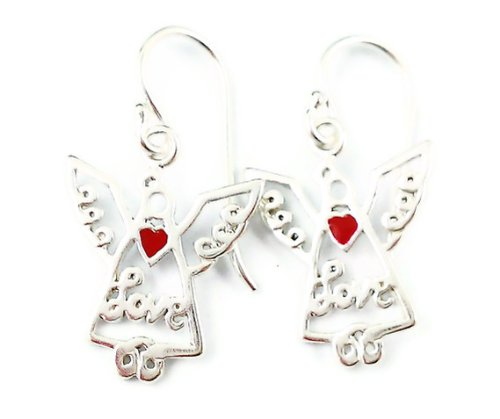 Sterling Silver Dangle Earrings Love Angels with Red Heart