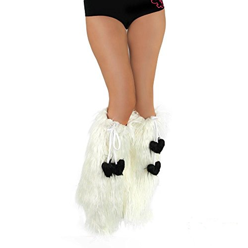 iHeartRaves White Fluffy Leg Warmers – Rave GoGo Fluffies (White)