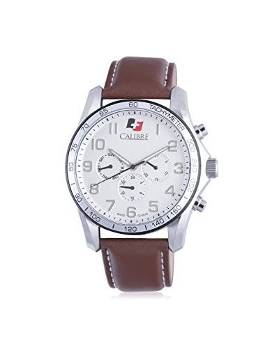 "Calibre Men's SC-4B1-04-001.7 ""Buffalo"" Stainless Steel and Brown Leather Watch"