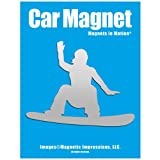 Snowboarder Female Car Magnet Chrome