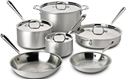 All-Clad 700508 MC2 Master Chef 2 Stainless Steel Tri-Ply Bonded Cookware Set, 10-Piece, Silver