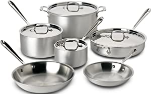 All-Clad 700508 Master Chef 2 Stainless Steel Tri-Ply Bonded Cookware Set, 10-Piece, Silver