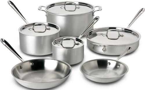 All-Clad 700508 MC2 Professional Master Chef 2 Stainless Steel Tri-Ply Bonded Oven Safe PFOA Free Cookware Set, 10-Piece, Silver (All Clad Pan Set compare prices)