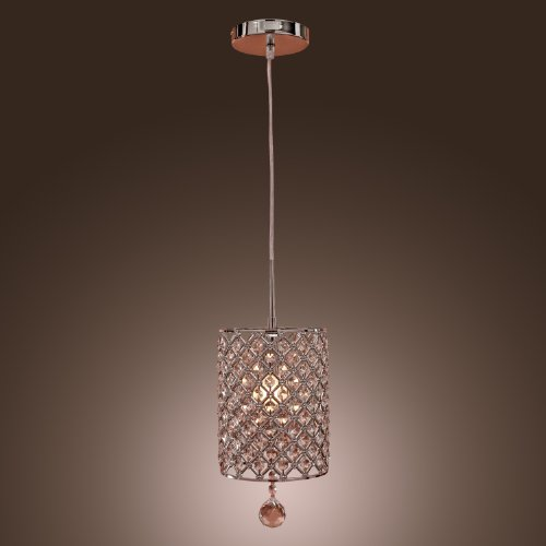 Lightinthebox Contemporary Crystal Drop Pendant Light In Cylinder Style front-819038