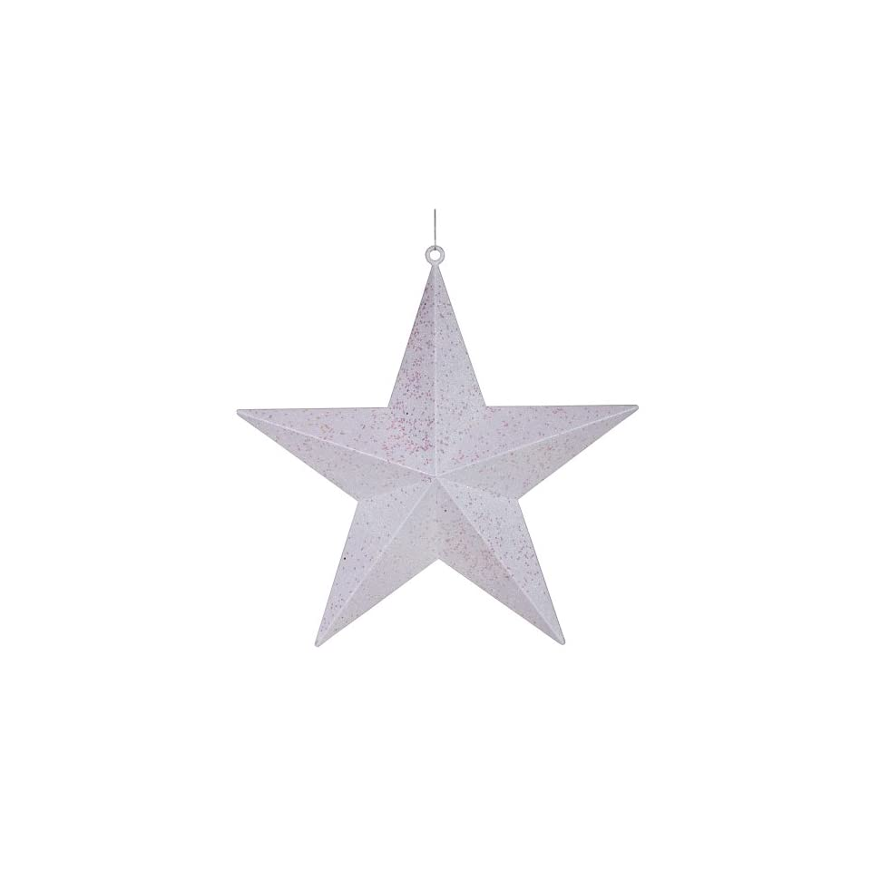 23 Commercial Size Winter White Glitter 5 Pointed Star Christmas Ornament