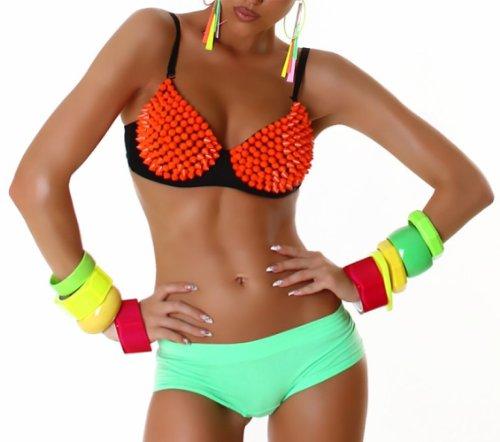 Jela London Push Up BH mit Nieten - Sexy Spikes Bügel-BH Orange (Gr. 65-80 Cup B) GoGo Outfit Top Clubwear