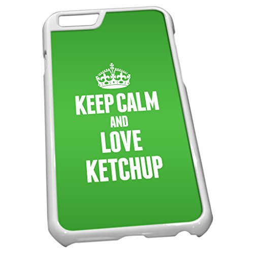 Blanc Coque pour iPhone 6 1197 Vert Keep Calm and Love Ketchup