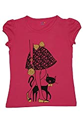 Poppers by Pantaloons Girl's Crew Neck T-Shirt (205000005621568, Red, 9-10 Years)