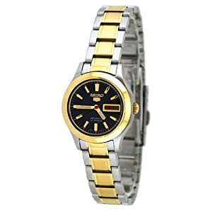 Seiko Women's SYMD94 Two Tone Stainless Steel Analog with Black Dial Watch