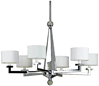 Candice Olson Chloe White Shade 6-Light Chandelier