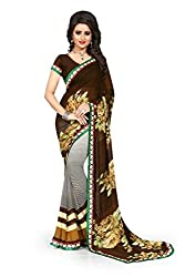 Drapme Floral Print Coffee Georgette Saree with Designer Printed Blouse
