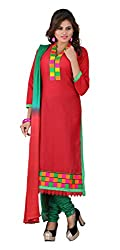 7 Colors Lifestyle Women's Cotton Salwar Suit Dress Material(ALSDR2003AIRA_Red)