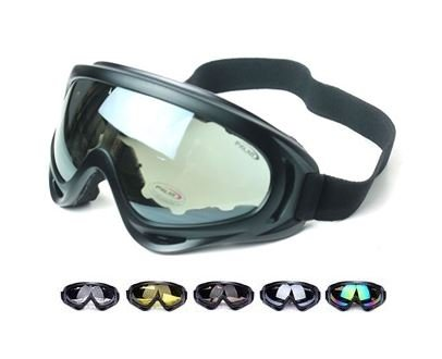 Military Tactical model goggles black frame clear lens X400