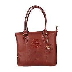 Hide Bulls Casual Leather Handbags For Women in Color Tan