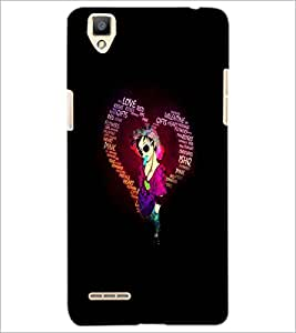 PrintDhaba Typographic Heart D-2720 Back Case Cover for OPPO F1 (Multi-Coloured)